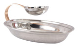 Steel Oval Chip N Dip Platter with Flat Chip N Dip Platter With Attached Chutney Bowl, Serveware