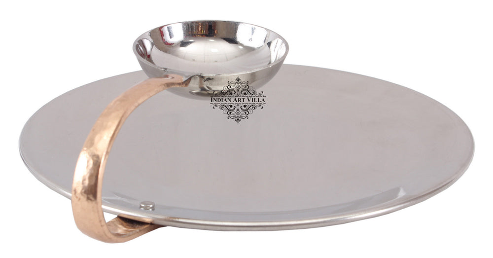 Steel Set of 3 Chip N Dip Platter With Attached Chutney Bowl