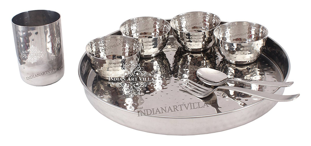 Steel Hammered 8 Piece Thali Set