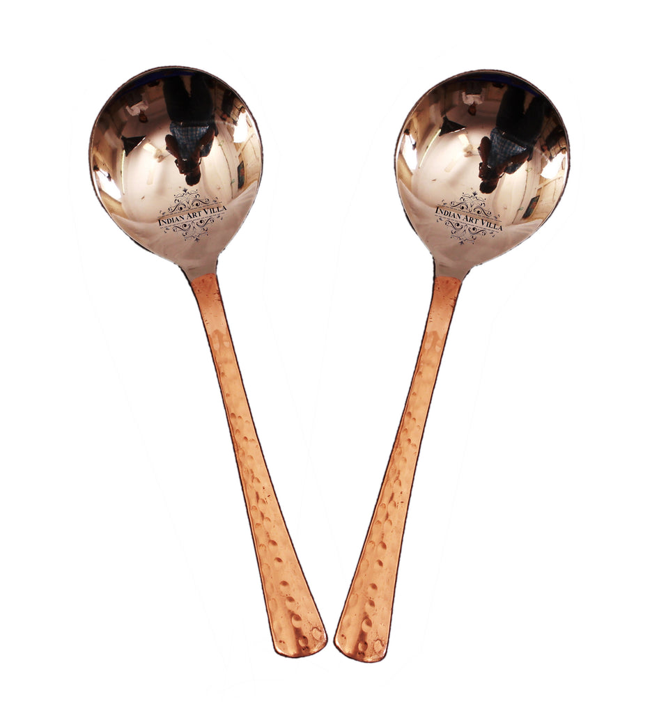 "Steel Copper Set of 2 Serving Spoon - 8"" Inch"