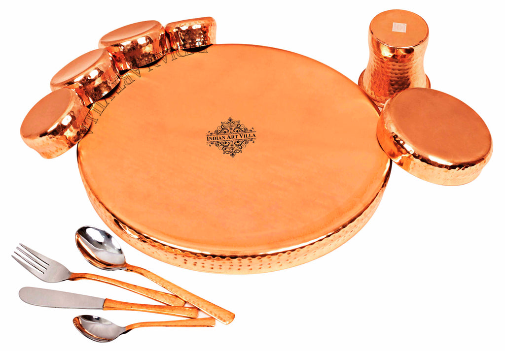Steel Copper Hammered Design Curved Dinner Thali Set of 11 Pieces