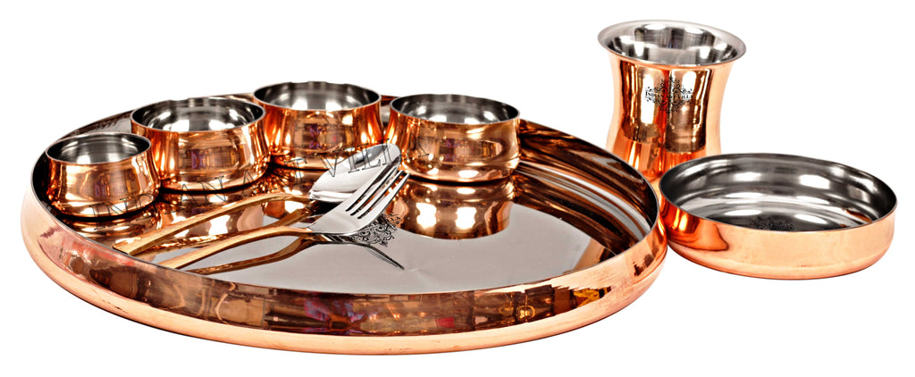 Steel Copper Handmade Curved Dinner Set of 9 Pieces