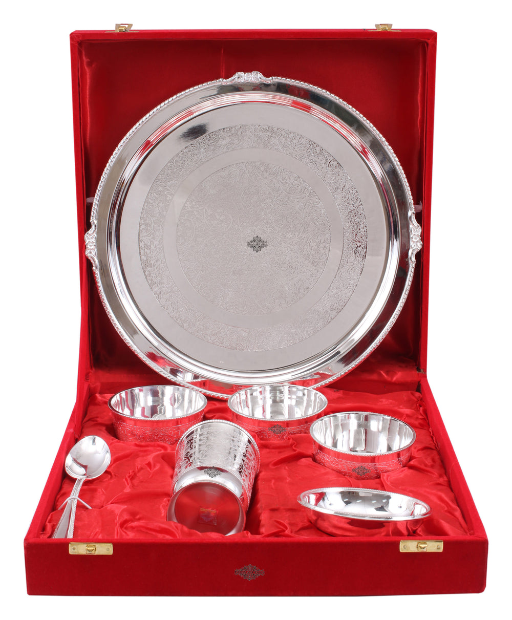 Silver Plated Embossed Design Thali Set  (7 Pieces)