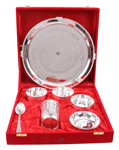 Silver Plated Handmade Embossed Design 7 Piece Thali Set - Serveware Tableware