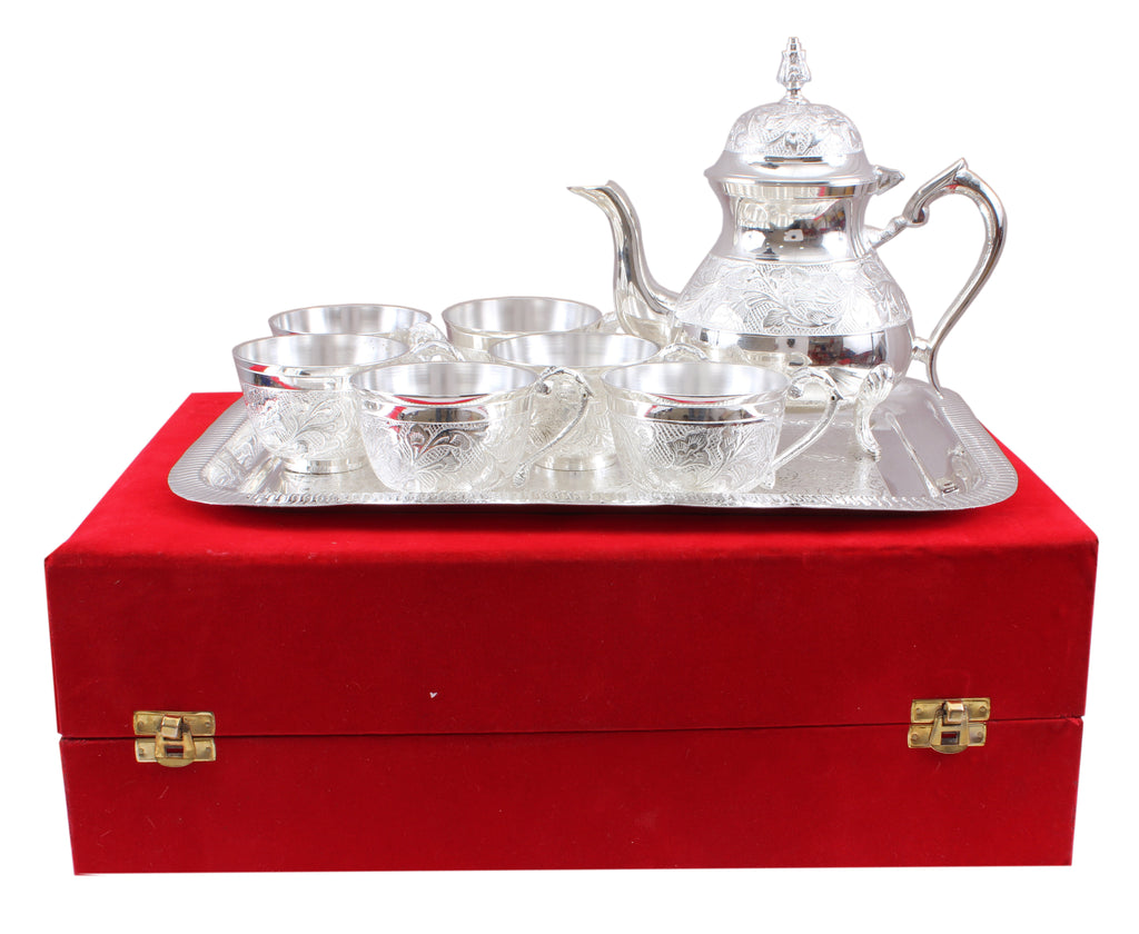 Silver Plated Handmade Floral Design 1 Tea Pot with 6 Cups & 1 Tray