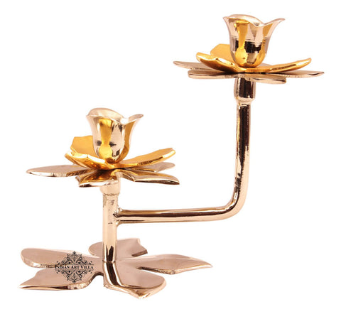 High Quality Handmade Silver & Gold Plated 2 Steps Candle Stand, Tableware,Best For Ocassion Parties, Decorative Gift Item