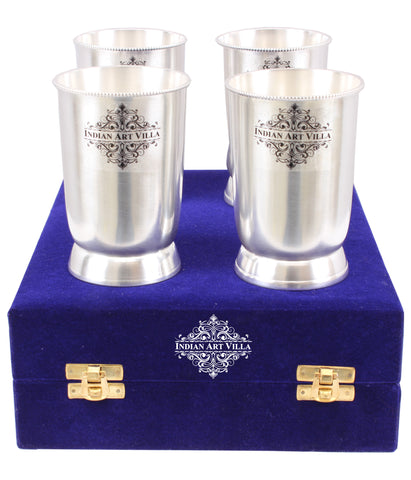 Silver Plated Plain Design Glass Tumbler Goblets Set with velvet box