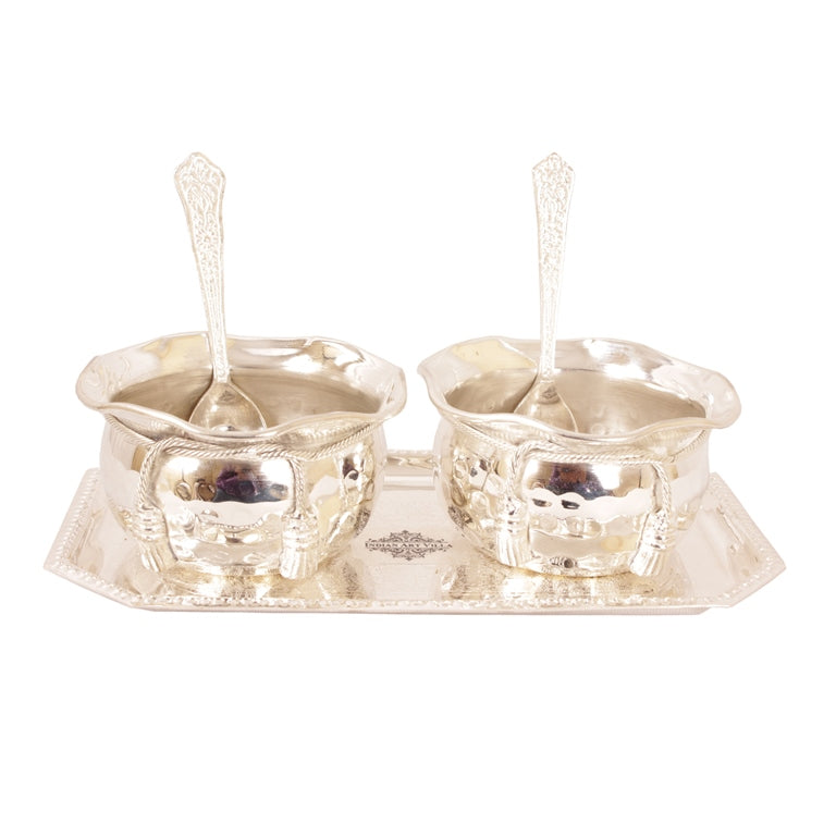 Silver Plated Set of 2 Designer Bowl 2 Spoon 1 Tray