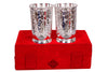 Silver Plated Set of 2 Designer Glass Tumbler with Box