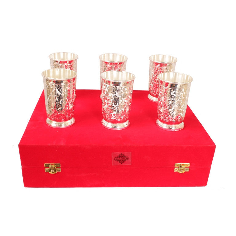 Silver Plated Embossed Design Glass Tumbler set of 6