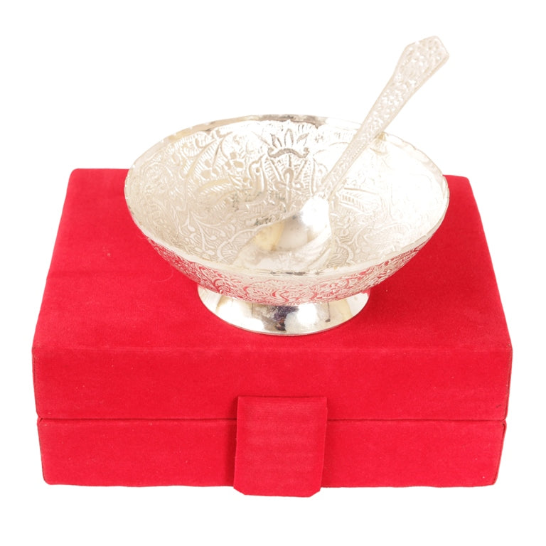 Silver Plated Floral Design Bowl 130 ML with 1 Spoon