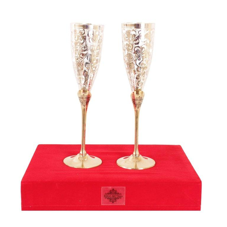 Set of 2 Silver Plated & Brass Champagne Wine Glass With Box