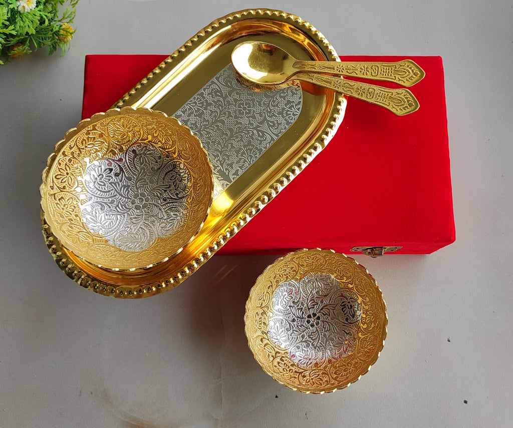 Silver Plated Gold Polished Set of 2 Bowl 2 Spoons 1 Tray