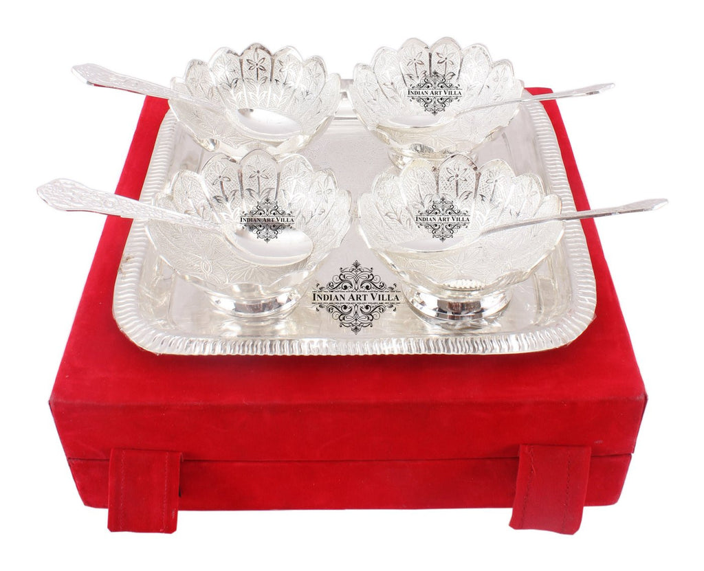 Silver Plated 4 Bowl with 4 Spoon & 1 Square Tray