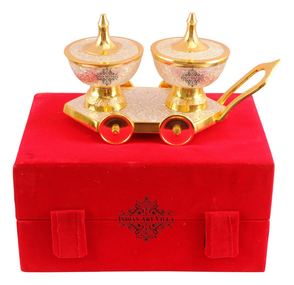 Silver Plated Gold Polished 2 Dry Fruits Bowls with Trolley
