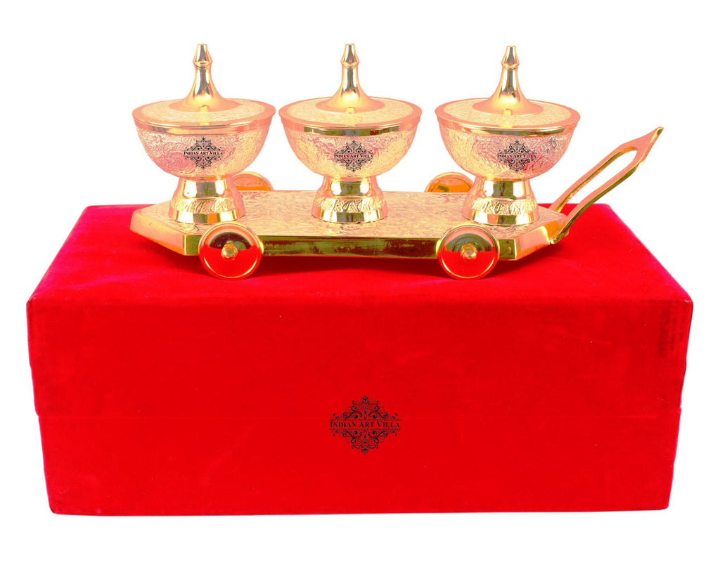 Silver Plated Gold Polished 3 Dry Fruits Bowls with Trolley
