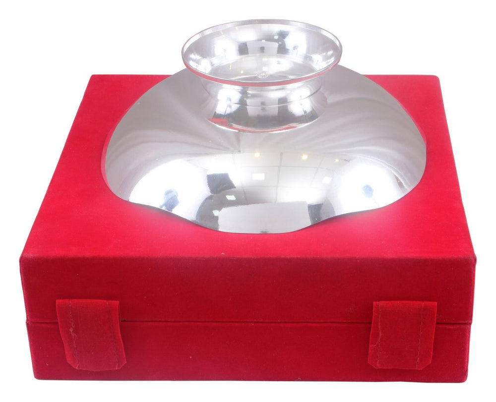 Silver Plated Flower Design Big Serving Bowl with Box