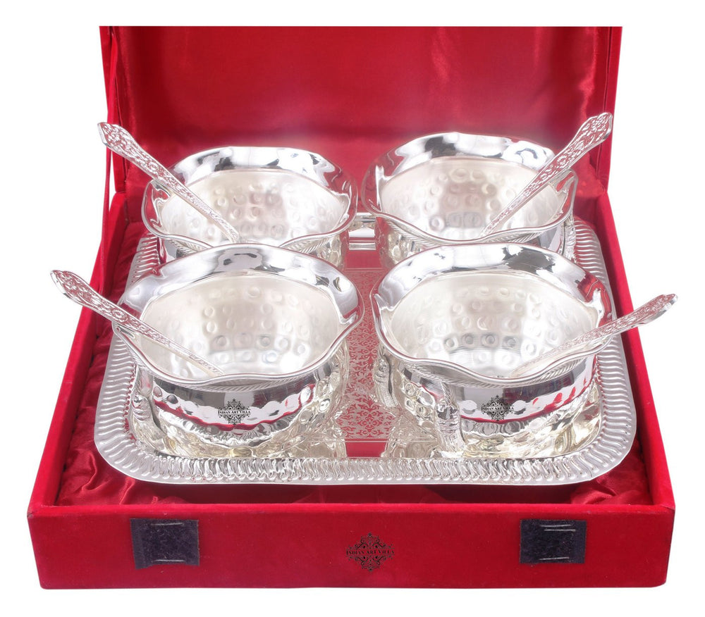 Silver Plated Hammer Bowl with 4 Spoon & Embossed Design 1 Tray