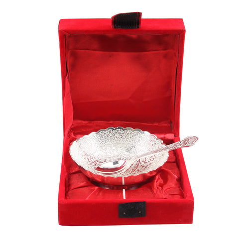 Silver Plated Handmade Floral Design 1 Bowl 150 ML with 1 Spoon  (2 Pieces)