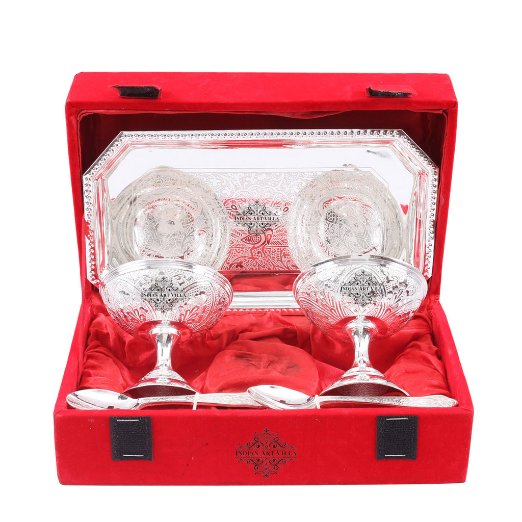 Silver Plated Designer Ice Cream 2 Bowl with 2 Spoon & 1 Tray