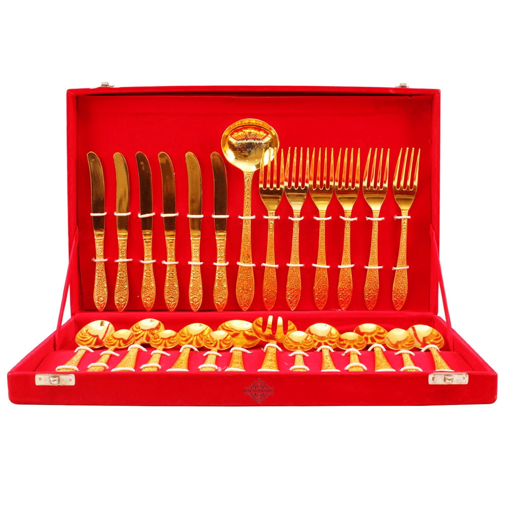 Silver Plated Gold Polished 27 Piece Cutlery Set