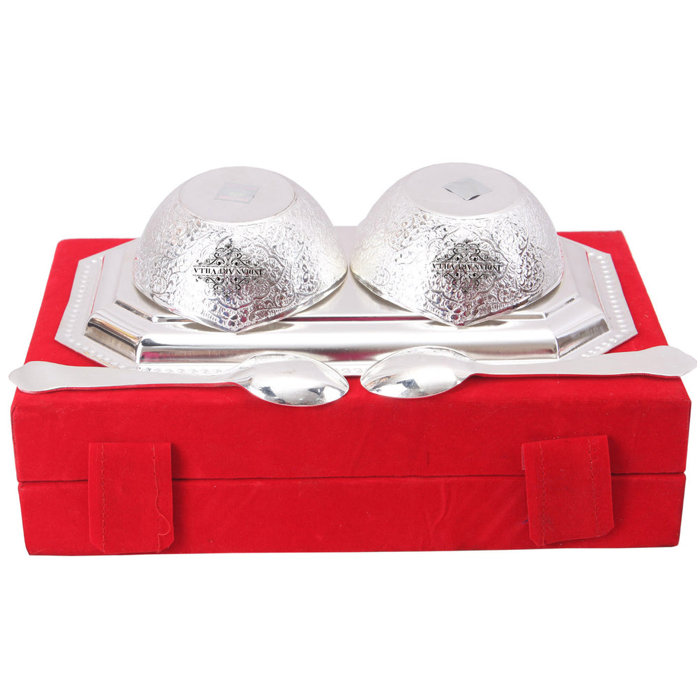 Silver Plated Handmade  Mango Design Bowl with 2 Spoon & 1 Tray