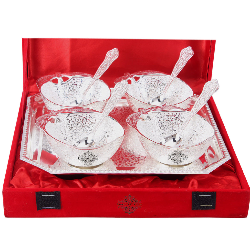Silver Plated Handmade Mango Design 4 Bowl & 4 Spoon & 1 Tray