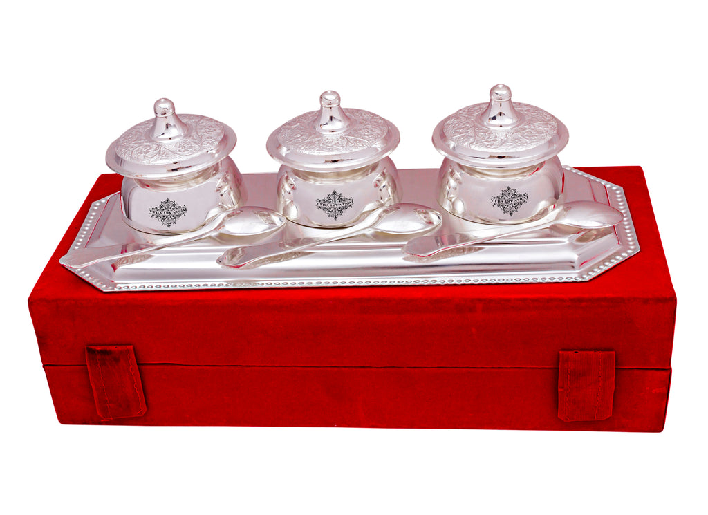 Silver Plated Handmade 3  Beetel Bowl with 3 Spoon & 1 Tray