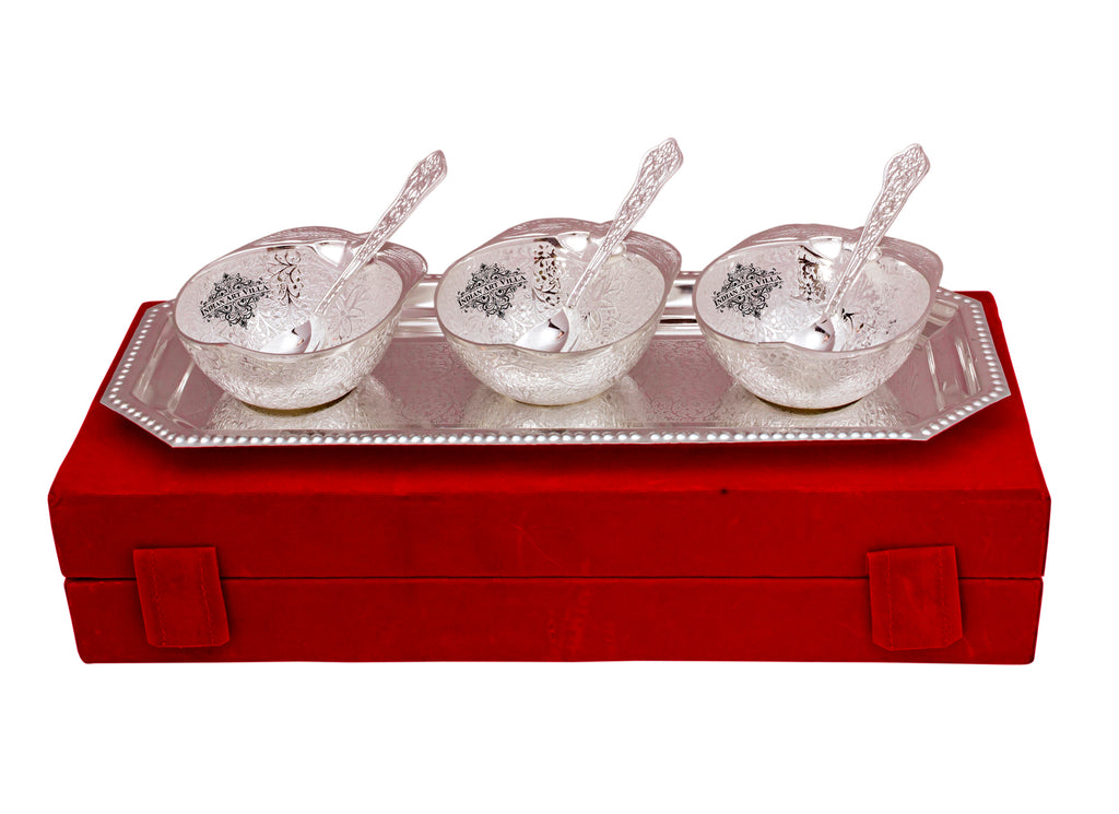 Silver Plated Mango Design 3 Bowl with 3 Spoon & 1 Tray