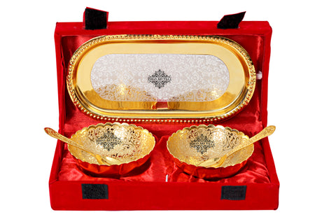 Silver & Gold Plated Embossed Design 2 Bowl with 2 Spoon & 1 Tray