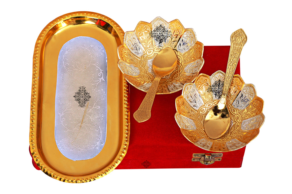 Silver & Gold Plated Lotus Design 2 Bowl with 2 Spoon & 1 Tray