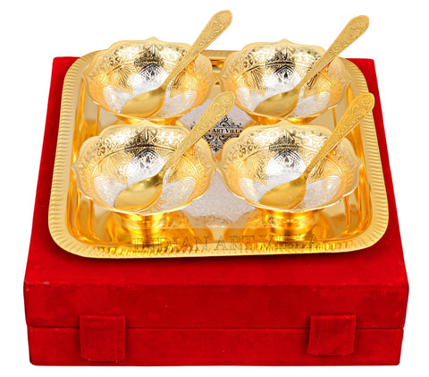 Silver Plated Gold Polished, Set of  4 Bowl & 4 Spoon & 1 Tray