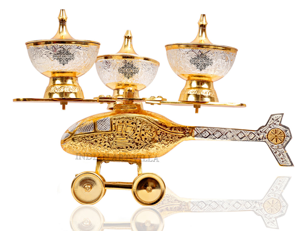 Silver Plated Gold Polished, Set of 3 Helicopter Supari Daan Bowl