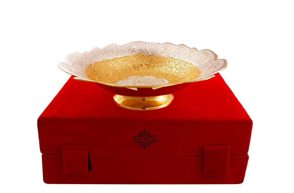Silver Plated & Gold Plated Angoori Bowl, 9'' Inch