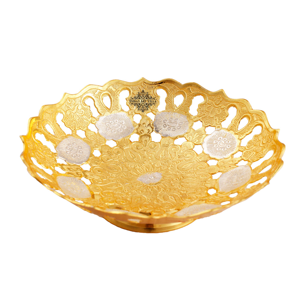 Silver & Gold Plated Leaf Design Bowl, 10'' Inch