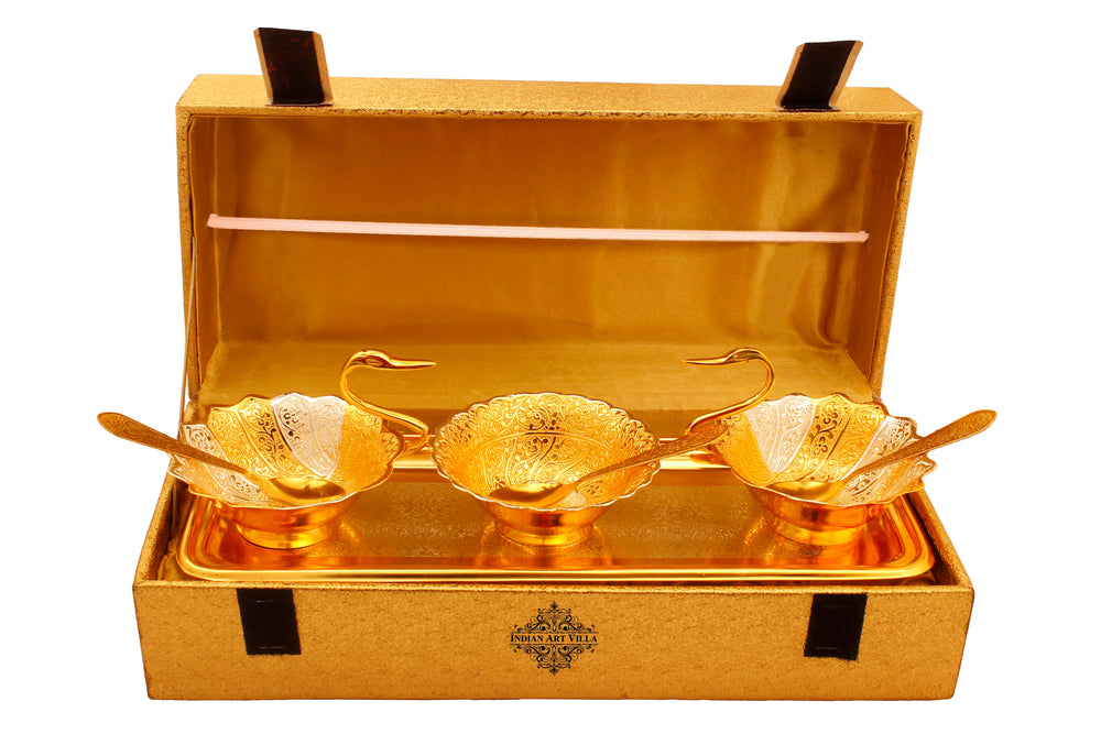 Silver & Gold Plated Embossed Duck Design 2 Bowl, 1 Designer Bowl, 1 Tray & 3 Spoon