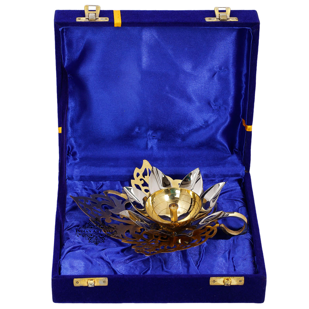 Silver & Gold Plated Curved Leaf Design Akhand Diya With Blue Box
