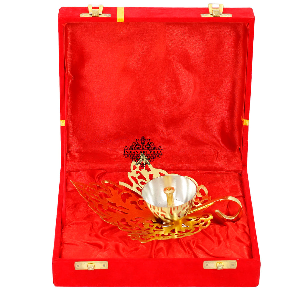 Silver & Gold Plated Curved Leaf Design Akhand Diya With Red Box