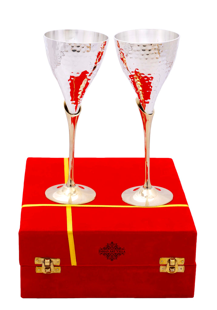 Silver Plated Flute Wine Glasses with Red Velvet Box