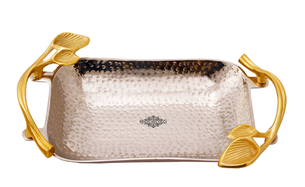 "Designer Silver Plated Curved Tray With Gold Leaf Design Handle Width 9.9"" Inch"