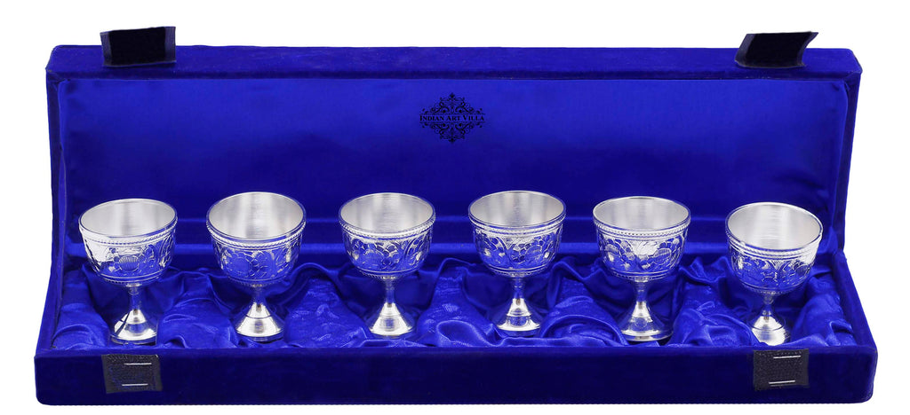 Silver Plated Shot Glasses, Barware, Best for Parties, Wine Beer Hotel Restaurant, Set of 6 Pieces, Silver