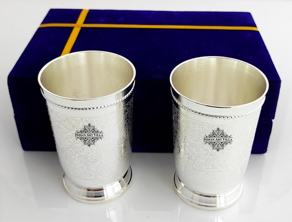 Hammered Designer Silver Plated Set of 2 Designer Glass With Blue Box , Best For Parties , 260 ML Each