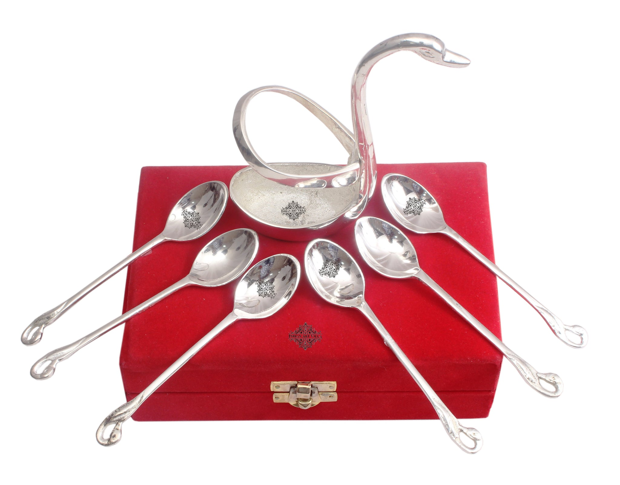 Silver Plated Duck Design Cutlery Stand with 6 Spoons