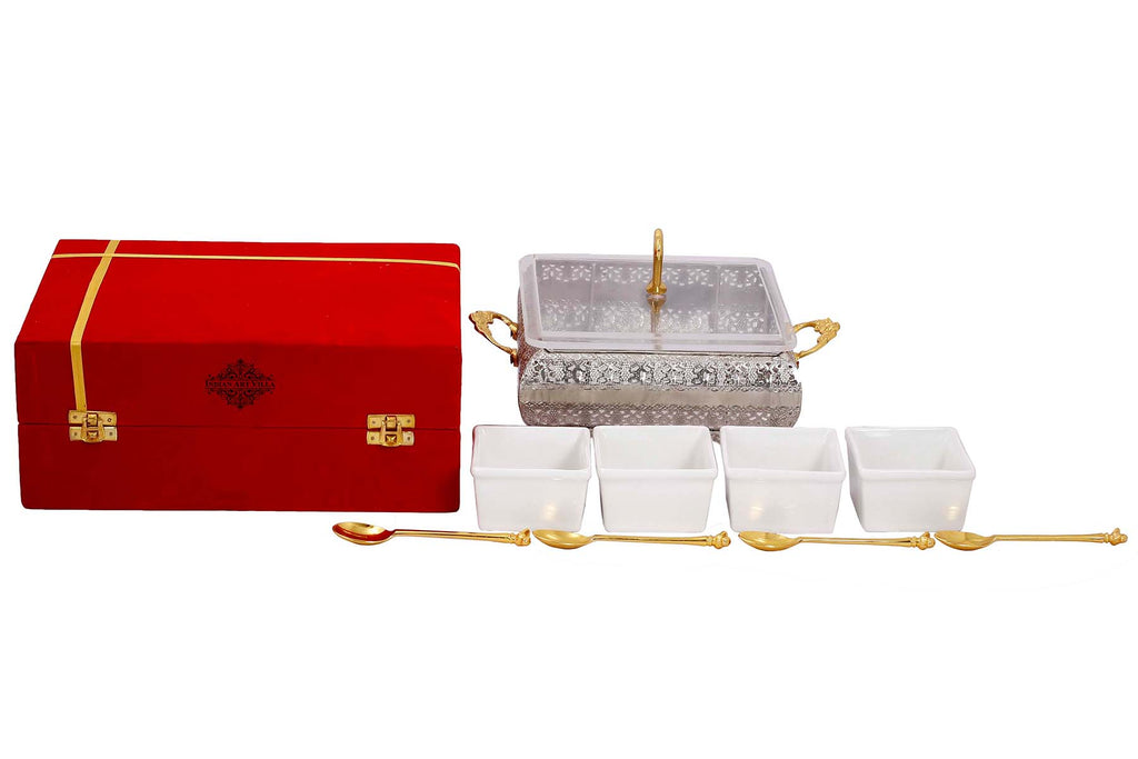 "Silver Plated Brass Designer Storage Box Dry Fruit Container 4 Compartments, Gift Item, Home Decore, 7.7"" Inch, Gold"