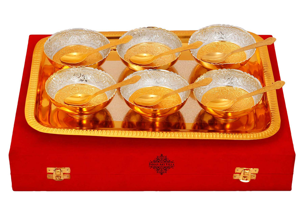 Silver Plated Gold Polished Handmade floral 6 Bowls Set With 6 Spoons & 1 Tray, Festive Gifts