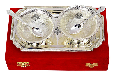 Silver Plated Set of 2 Curved Bowl with 2 Spoon & 1 Tray