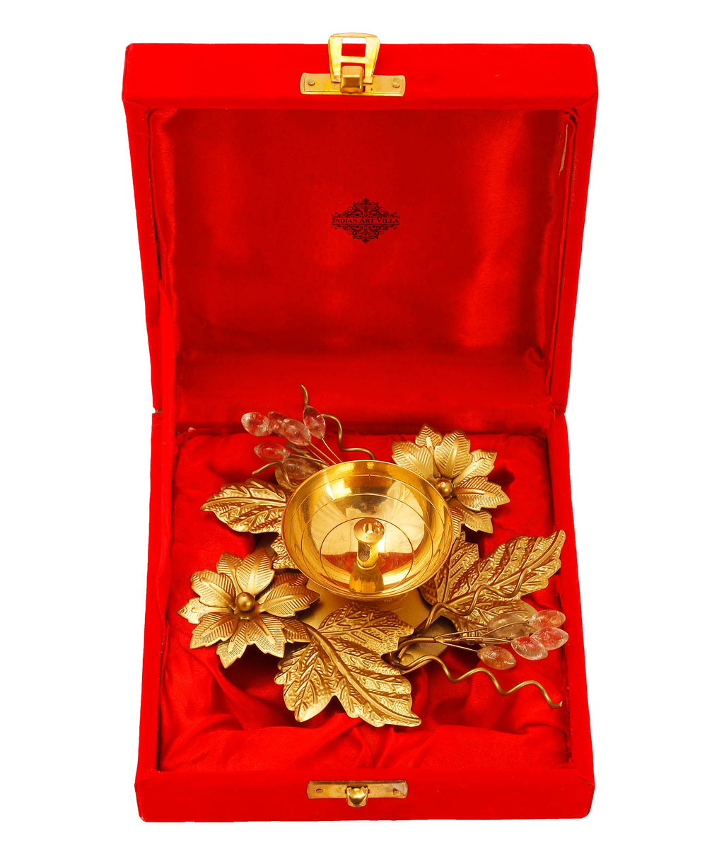 "Silver Plated Gold Polish Flower And Leaf Design Diya, 6"" Inch"