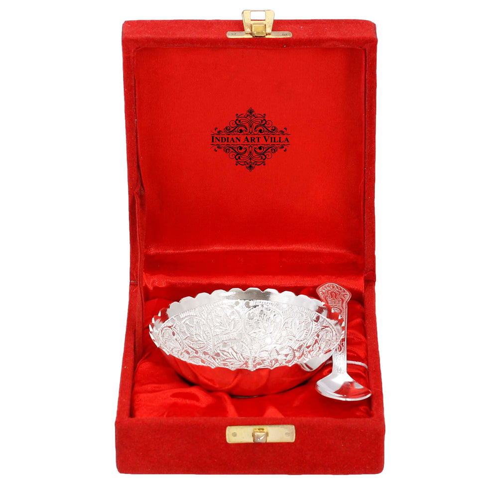 Silver Plated Flower Design Bowl And Spoon With Gift Box Festive Gifts