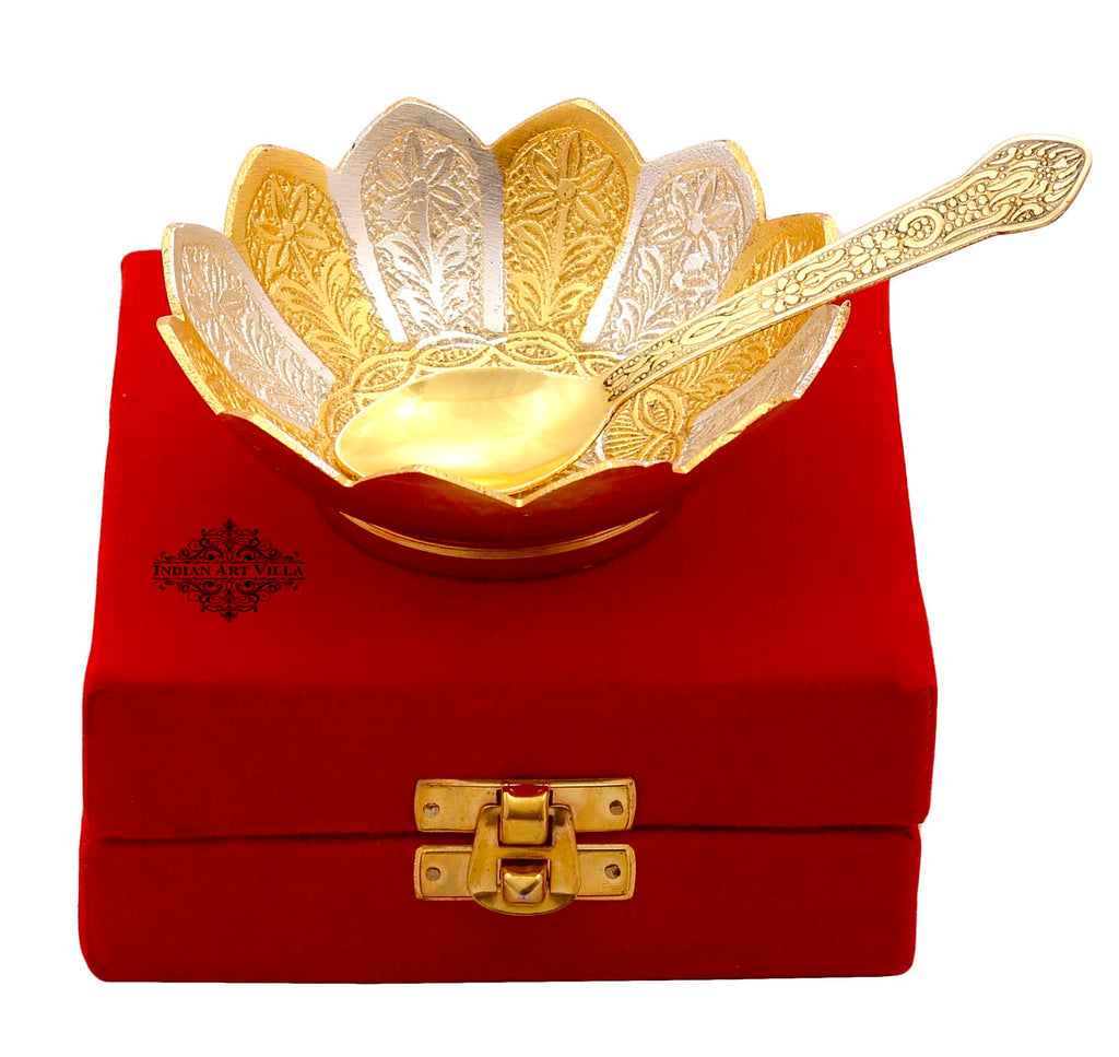 Silver Plated & Gold Polished Lotus Design Bowl With Spoon, Diwali Festive Gifts Item