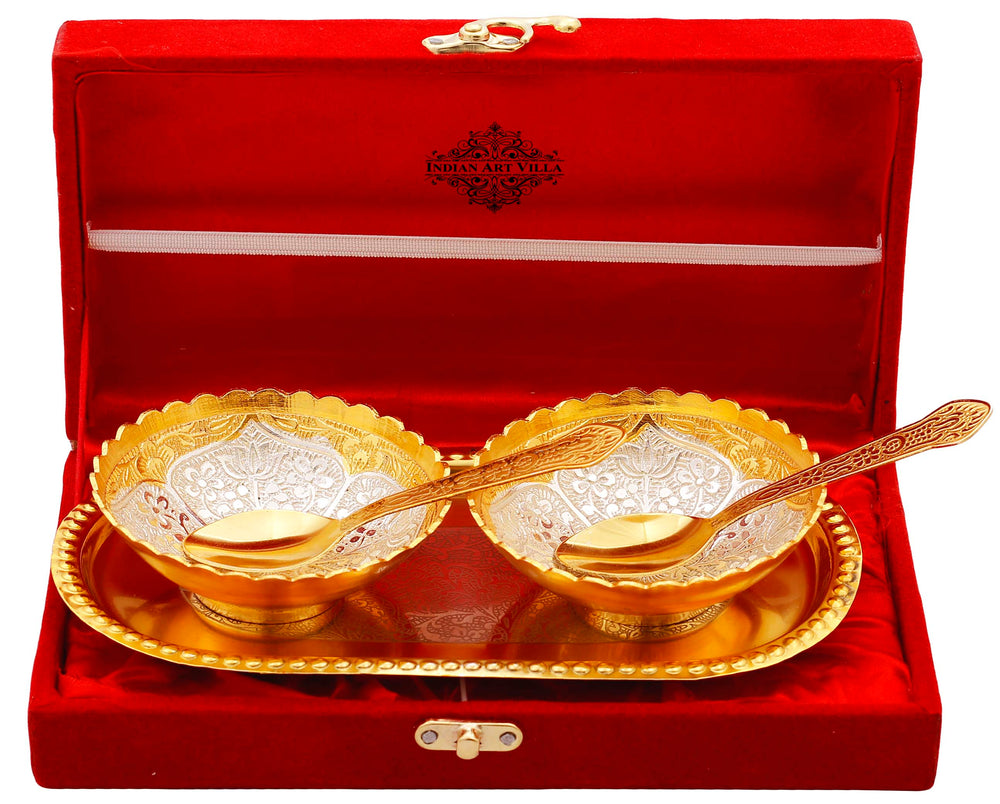 Silver Plated Gold Polished Embossed Flower Design Set of 2 Bowl with 2 Spoon & 1 Tray, Diwali Festive Gifts Item
